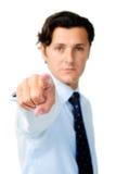 Punti dell'uomo d'affari con un fronte diritto Immagini Stock