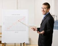 Punti dell'uomo di affari al grafico di vendite Fotografia Stock