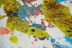 Punti della cera dell'oro giallo di verde della pittura dell'acquerello, progettazione creativa Immagine Stock Libera da Diritti