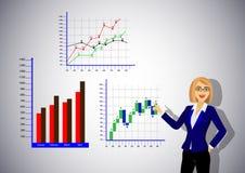 Punti della mano della donna di affari ai grafici illustrazione di stock