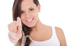 Punti della ragazza con il dito Fotografie Stock Libere da Diritti