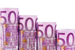 Punti di caduta fatti di 500 euro banconote Immagini Stock Libere da Diritti