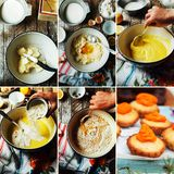 Punti di fabbricazione del dolce sabbioso di cottura con il materiale da otturazione della ciliegia: mescolanza Immagine Stock