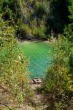 Punti di pesca sul lago fotografia stock