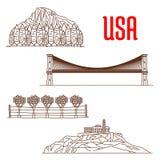 Punti di riferimento americani della natura e simboli facenti un giro turistico Immagine Stock
