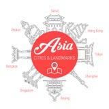 Punti di riferimento asiatici famosi Linea insieme dell'icona di vettore illustrazione di stock
