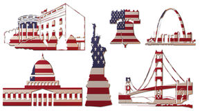 Punti di riferimento degli Stati Uniti (bandiera) A Fotografie Stock