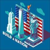 Punti di riferimento dei monumenti di NYC isometrici Fotografia Stock Libera da Diritti