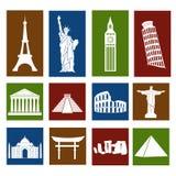 Punti di riferimento del mondo, icone messe Fotografie Stock