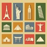 Punti di riferimento del mondo, icone piane messe Immagine Stock