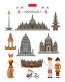 Punti di riferimento dell'Indonesia ed insieme dell'oggetto della cultura Immagini Stock Libere da Diritti