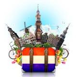 Punti di riferimento dell'Olanda, Amsterdam, viaggio immagini stock libere da diritti