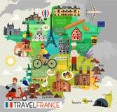 Punti di riferimento della Francia e mappa di viaggio Icone di viaggio della Francia Illustrazione di vettore Immagine Stock Libera da Diritti