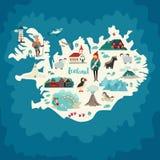 Punti di riferimento della mappa dell'Islanda Fotografia Stock Libera da Diritti