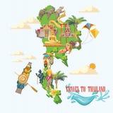 Punti di riferimento della Tailandia di viaggio con la mappa e l'oceano della Tailandia Icone tailandesi di vettore illustrazione di stock