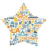 Punti di riferimento di simboli delle icone di Los Angeles California Immagine Stock Libera da Diritti