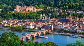Punti di riferimento e belle città della Germania - Heidelberg medievale Fotografia Stock Libera da Diritti