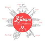 Punti di riferimento europei famosi Linea insieme dell'icona di vettore illustrazione vettoriale