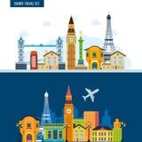 Punti di riferimento francesi Viaggio ad Europa Città di Parigi e di Londra royalty illustrazione gratis