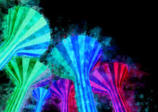 Punti di riferimento illuminati notte delle torri di acqua dell'acquerello di Kuwa Fotografia Stock Libera da Diritti