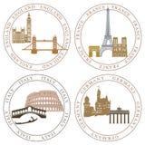 Punti di riferimento nazionali europei illustrazione vettoriale