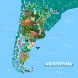 Punti di riferimento o posti facenti un giro turistico sulla mappa dell'Argentina illustrazione di stock