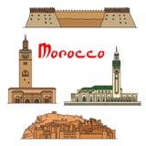 Punti di riferimento storici e sightseeings del Marocco illustrazione vettoriale
