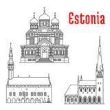 Punti di riferimento storici e sightseeings dell'Estonia illustrazione vettoriale