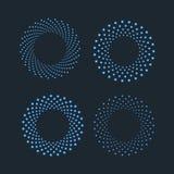 Punti di semitono nella forma del cerchio Elemento punteggiato rotondo di progettazione di logo Le luci nere e blu hanno isolato  Immagine Stock Libera da Diritti
