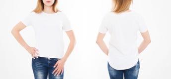 Punti di vista anteriori e posteriori della donna graziosa, ragazza in maglietta su fondo bianco Collage o insieme Derisione su p fotografie stock libere da diritti