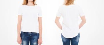 Punti di vista anteriori e posteriori della donna graziosa, ragazza in maglietta su fondo bianco Collage o insieme Derisione su p immagini stock libere da diritti