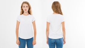 Punti di vista anteriori e posteriori di giovane donna caucasica della ragazza in maglietta alla moda su fondo bianco Derisione s immagine stock libera da diritti
