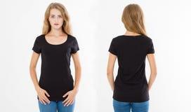 Punti di vista anteriori e posteriori di giovane donna caucasica della ragazza in maglietta alla moda su fondo bianco Derisione s immagini stock libere da diritti