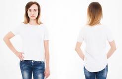 Punti di vista anteriori e posteriori di giovane donna sexy in maglietta alla moda su wh fotografie stock