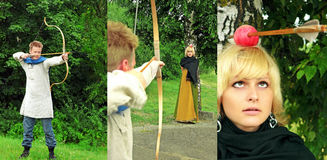 Punti di vista del archer che indicano arco Fotografia Stock Libera da Diritti