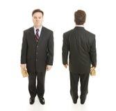Punti di vista fronti e posteriori dell'uomo d'affari Immagine Stock