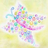 Punti e cerchi astratti nella forma della farfalla Fotografie Stock