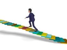 Punti e progresso della scala di Going Up Shows dell'uomo d'affari Immagini Stock Libere da Diritti