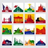 Punti facenti un giro turistico popolari nelle icone del mondo illustrazione vettoriale