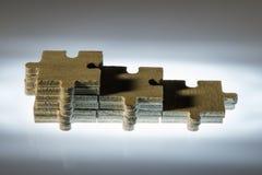 Punti fatti dei partes di legno di puzzle Immagine Stock Libera da Diritti