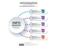 5 punti infographic modello di progettazione di cronologia con l'etichetta della carta 3D Concetto di affari con le opzioni Per i illustrazione di stock