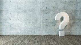 Punti interrogativi concreti nella stanza vuota Fotografie Stock