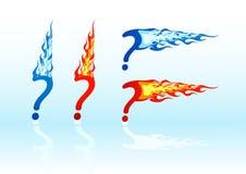 Punti interrogativi del fuoco di vettore Immagine Stock