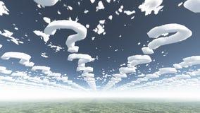 Punti interrogativi della nube Immagini Stock Libere da Diritti