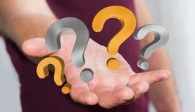 Punti interrogativi della tenuta dell'uomo d'affari nella sua rappresentazione della mano 3D Fotografia Stock
