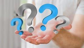 Punti interrogativi della tenuta dell'uomo d'affari nella sua rappresentazione della mano 3D Fotografie Stock Libere da Diritti