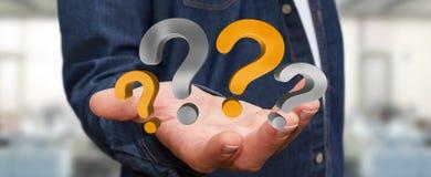 Punti interrogativi della tenuta dell'uomo d'affari nella sua rappresentazione della mano 3D Fotografia Stock Libera da Diritti