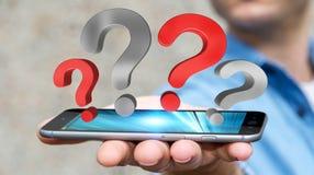 Punti interrogativi della tenuta dell'uomo d'affari sopra la rappresentazione del telefono 3D Immagini Stock Libere da Diritti