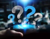 Punti interrogativi della tenuta dell'uomo d'affari sopra la rappresentazione del telefono 3D Fotografia Stock