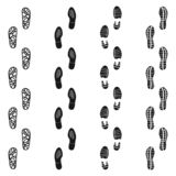 Punti isolati sporchi neri della pista di orma Insieme delle scarpe di orma di sport Icona di orma dell'insieme di vettore nello  illustrazione di stock